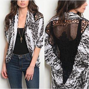 Sweaters - Sassy Crochet Lace TieDye Cardi Kimono Shrug Small